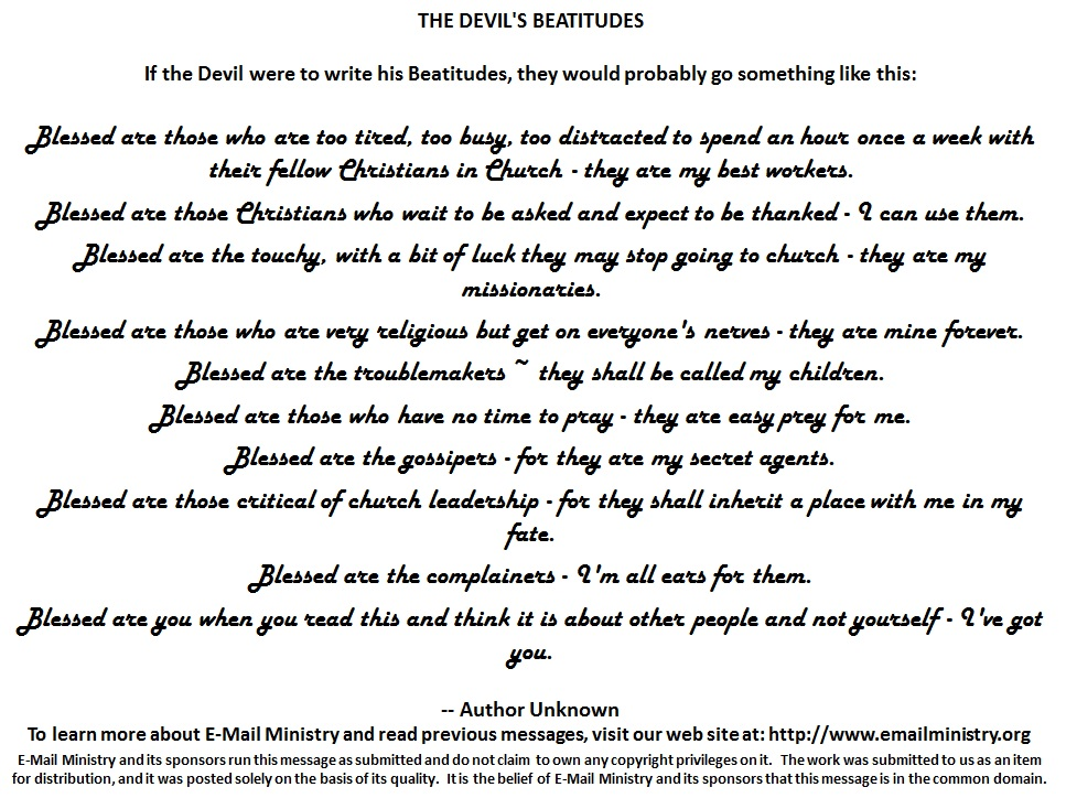 The Devils Beatitudes