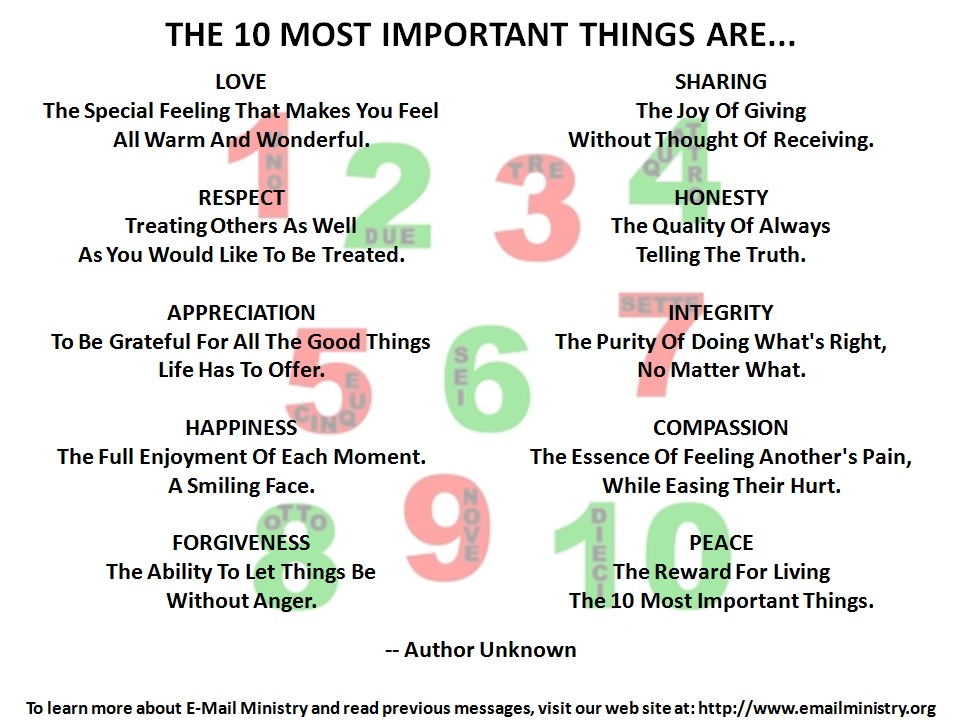 The 10 Most Important Things Are